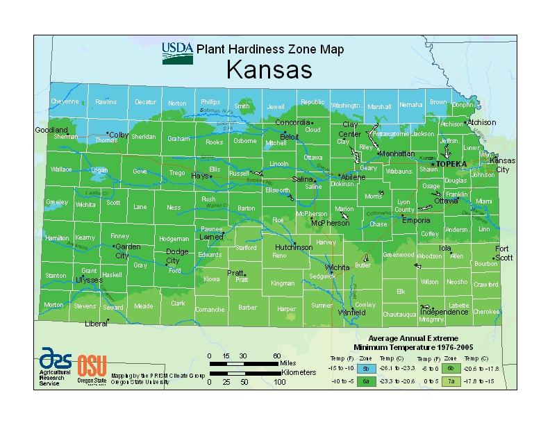 Kansas plant hardiness zones