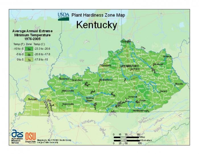 Kentucky plant hardiness zones