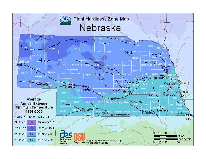 Nebraska plant hardiness zones