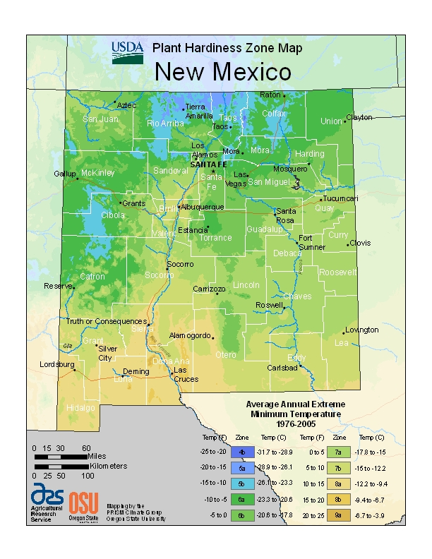 New Mexico plant hardiness zones