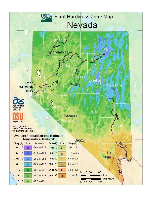 Nevada plant hardiness zones