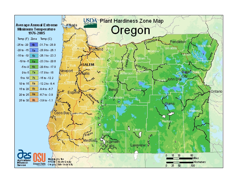 Oregon plant hardiness zones