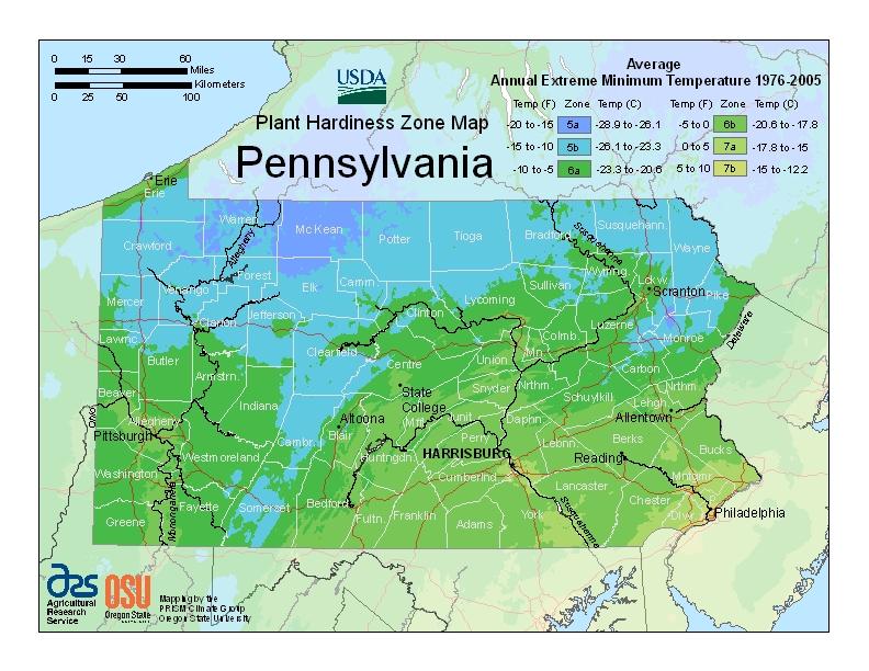 Pennsylvania plant hardiness zones