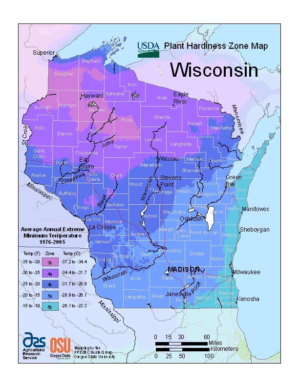 Wisconsin plant hardiness zones