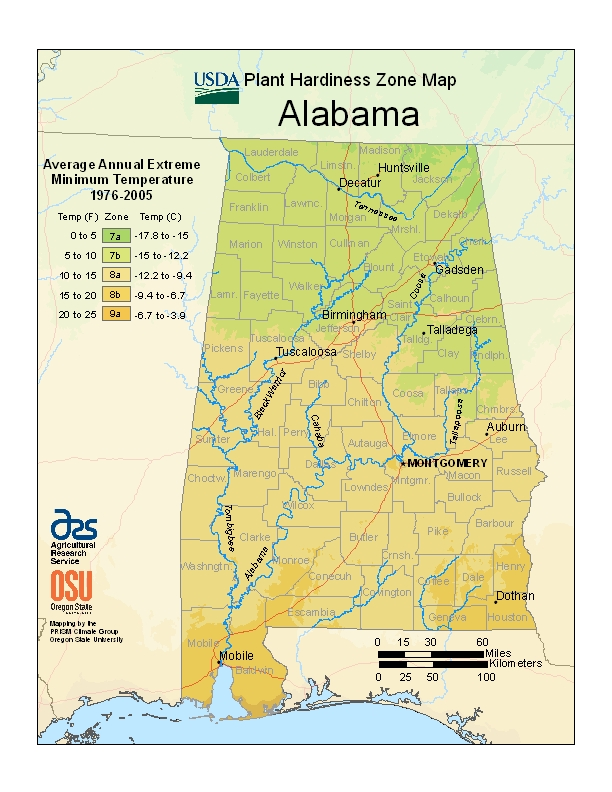 Alabama plant hardiness zones map
