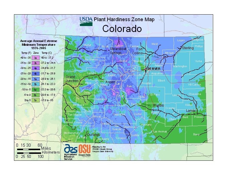 Colorado plant hardiness zones map