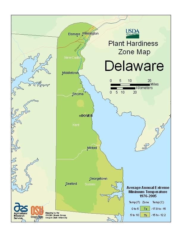 Delaware plant hardiness zones map