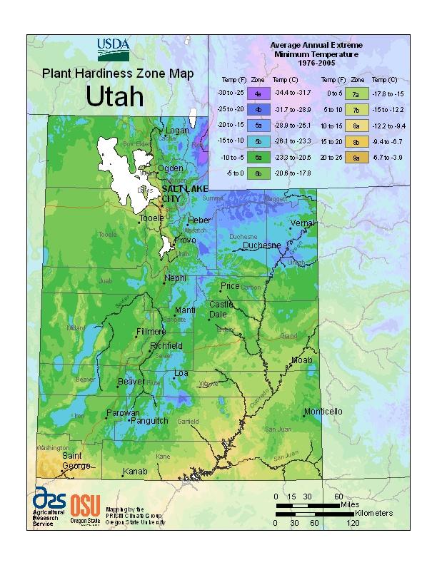 Utah plant hardiness zones map