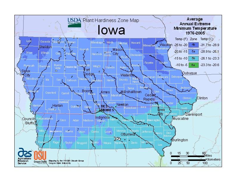 Iowa plant hardiness zone map