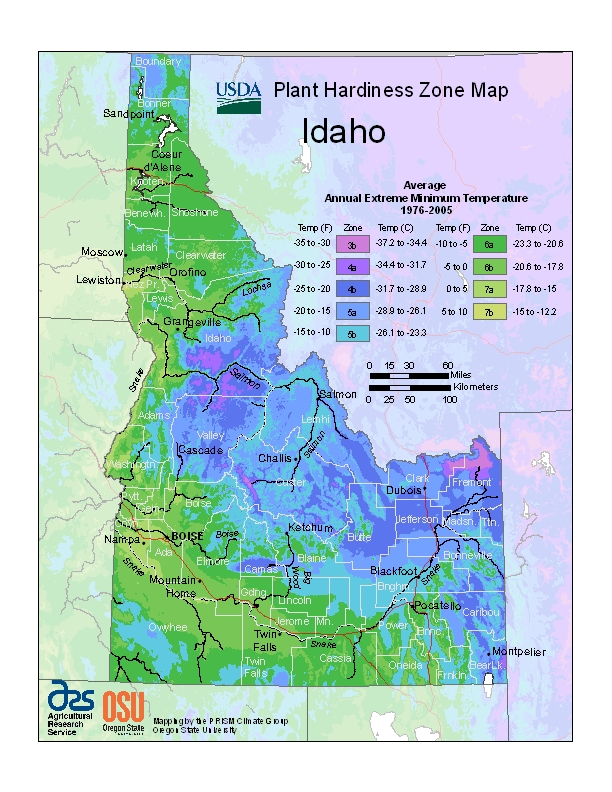 Idaho plant hardiness zone map